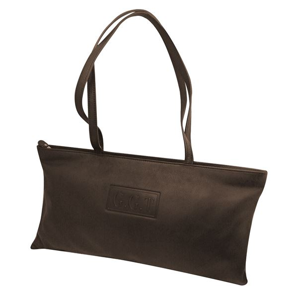 LADIES LEATHER TOTE 7001  بني داكن
