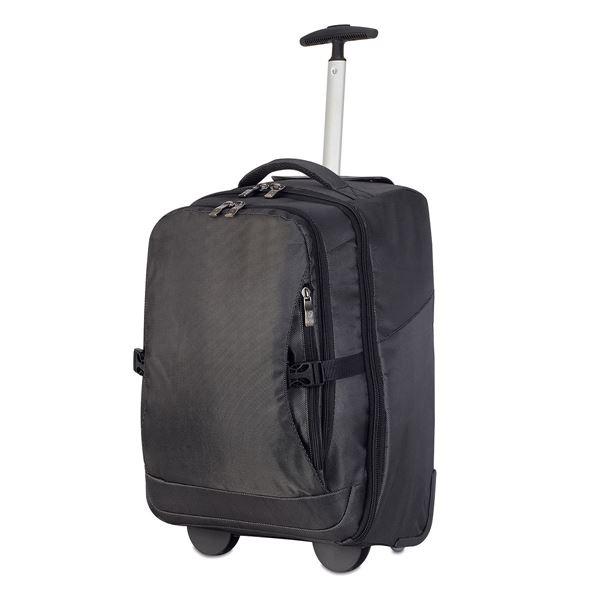 """תמונה של תיק גב טרולי 2 גלגלים 48 ס""""מ למחשב רומא 1424 שחור"""