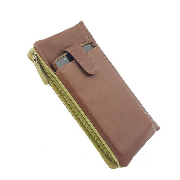 Изображение 14.522.740 Кожаный дамский кошелёк Тёмно-Коричневый/Зелёный