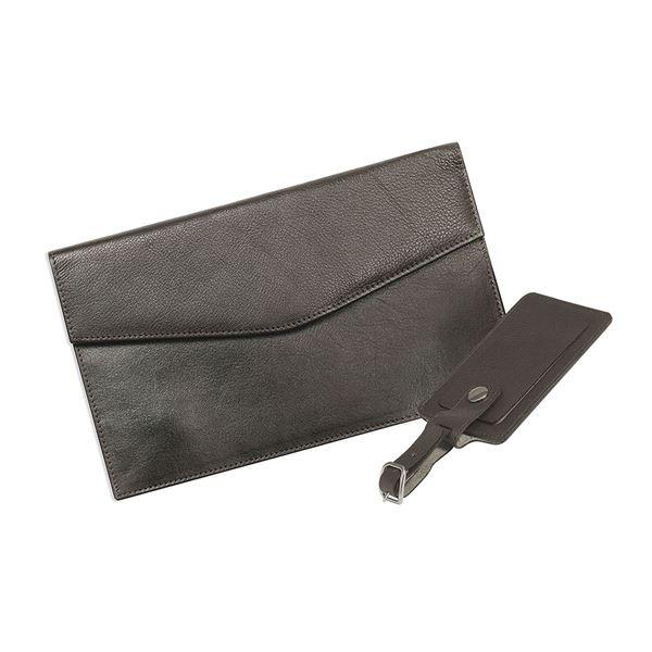 محفظة نقود للرجال من الجلد مخصصة للسفر مع حقيبة للأمتعة   17.816.141  بني داكن
