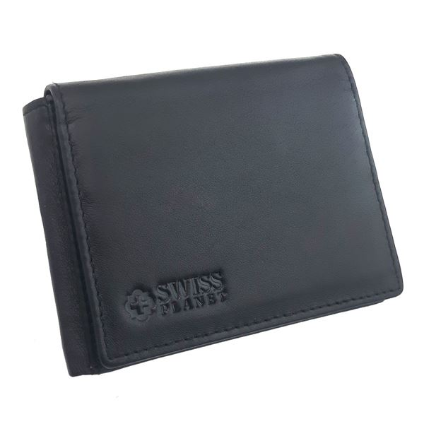 41.13.419  CRAZY HORSE LEATHER WALLET SWISS PLANET أسود