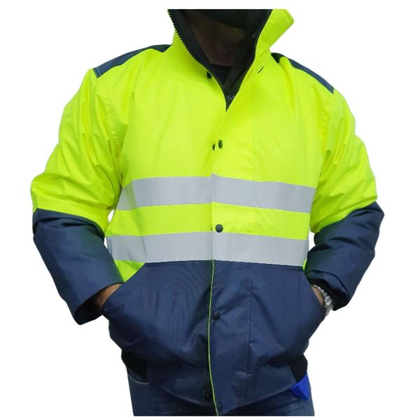 8266 PADDED COAT WITH REFLECTIVE STRIPES M Yellow